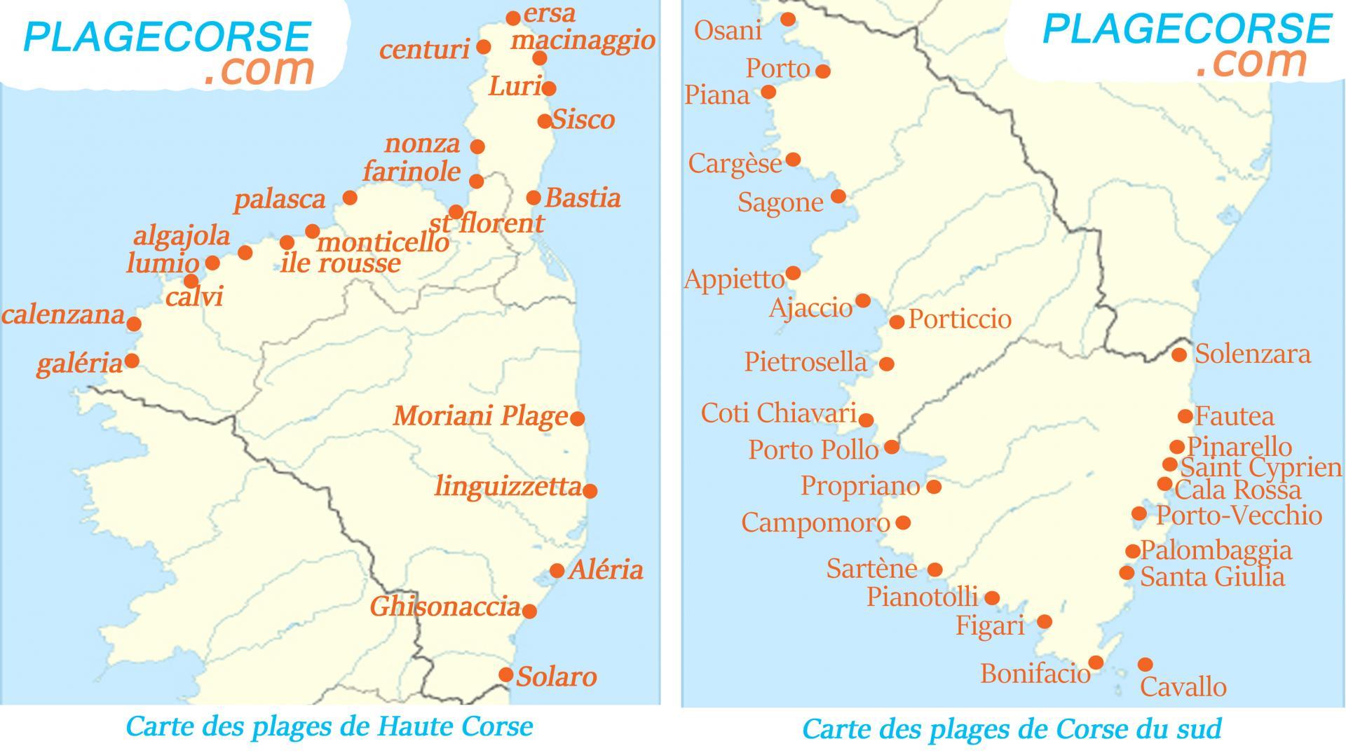 Carte Corse Porticcio.Carte Detaillee Des Plus Beaux Endroits De Corse