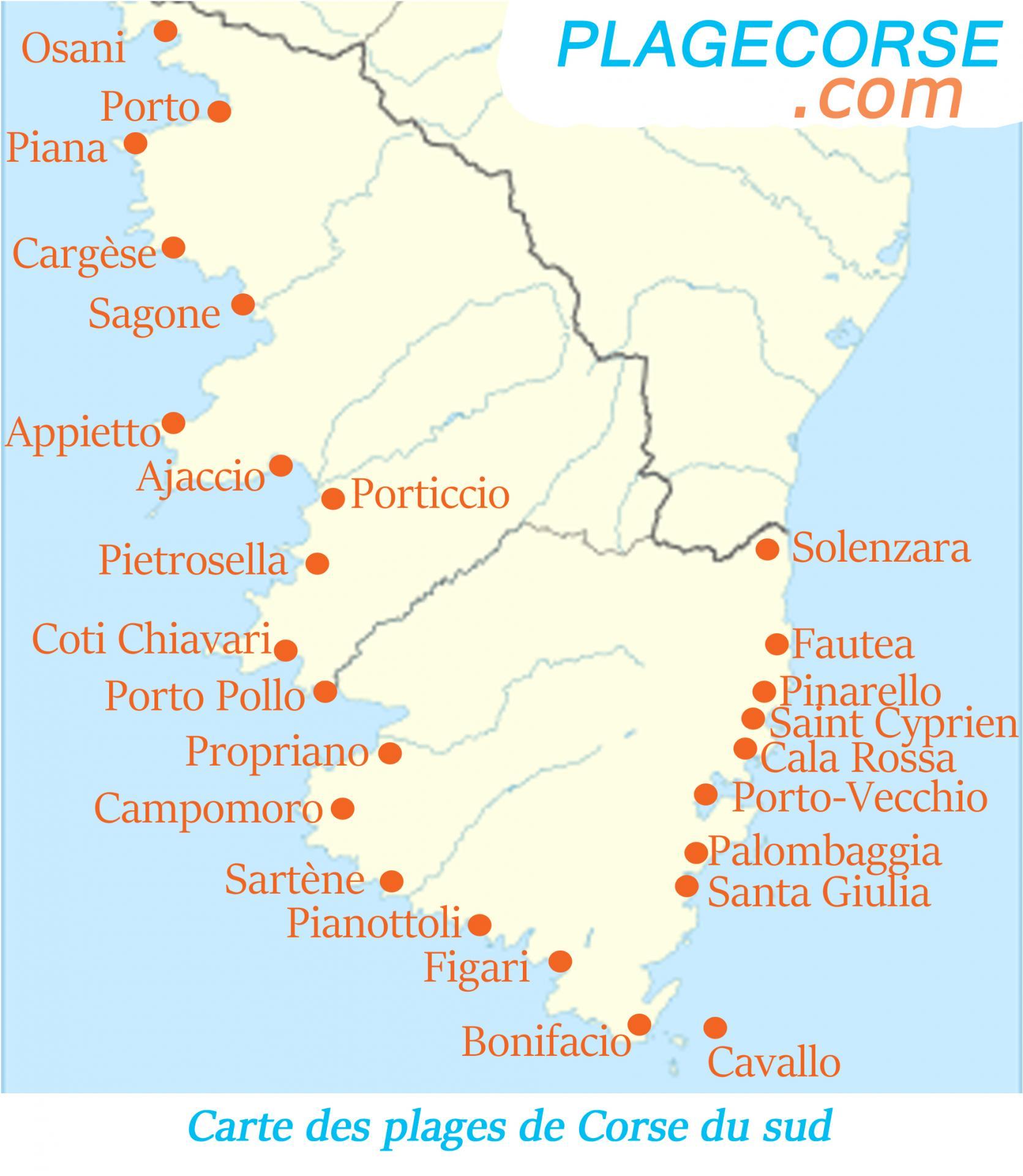 Carte plages corse du sud